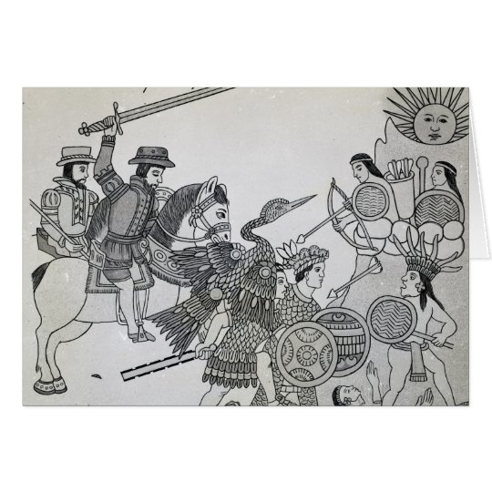 Fight between the Spanish and the Aztecs Card