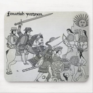 Fight between the Spanish and the Aztecs Mouse Pad