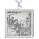 Fight between the Spanish and the Aztecs Square Pendant Necklace