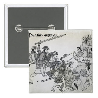Fight between the Spanish and the Aztecs Pinback Button