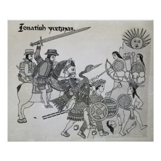 Fight between the Spanish and the Aztecs Print