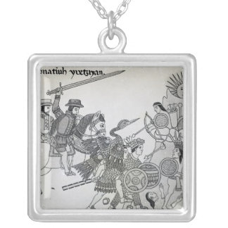 Fight between the Spanish and the Aztecs Silver Plated Necklace