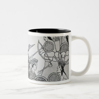 Fight between the Spanish and the Aztecs Two-Tone Coffee Mug