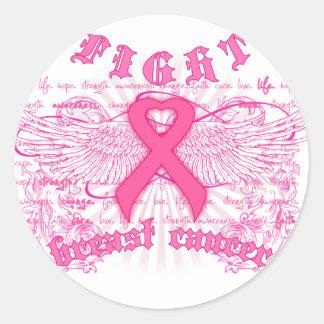 FIGHT BREAST CANCER CLASSIC ROUND STICKER