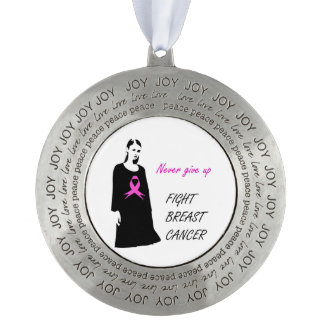 Fight breast cancer pewter ornament