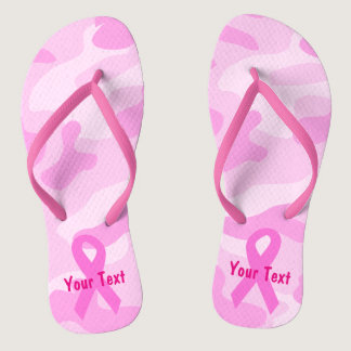 Fight Breast Cancer Pink Camo Flip Flops