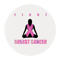 Fight breast cancer- pink ribbon on a womans body edible frosting rounds