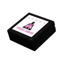 Fight breast cancer- pink ribbon on a womans body jewelry box