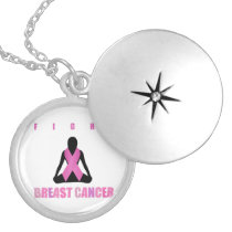 Fight breast cancer- pink ribbon on a womans body silver plated necklace