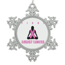 Fight breast cancer- pink ribbon on a womans body snowflake pewter christmas ornament