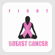 Fight breast cancer- pink ribbon on a womans body square sticker