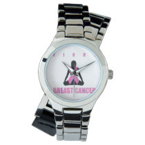 Fight breast cancer- pink ribbon on a womans body wrist watch