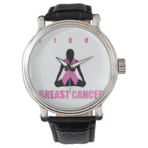 Fight breast cancer- pink ribbon on a womans body wristwatch