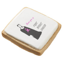 Fight breast cancer square shortbread cookie