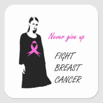 Fight breast cancer square sticker