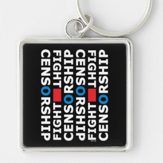 Fight Censorship Silver-Colored Square Keychain