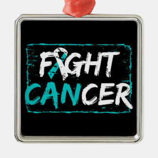 Fight Cervical Cancer Square Metal Christmas Ornament