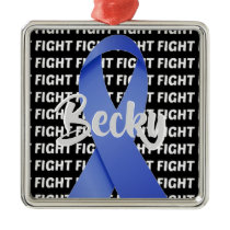 Fight Colon Cancer Blue Ribbon Metal Ornament