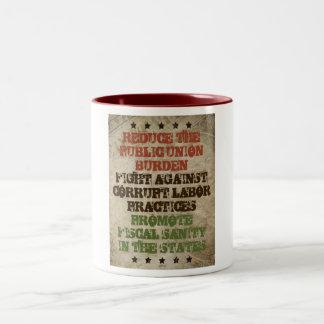 Fight Corrupt Labor Two-Tone Coffee Mug