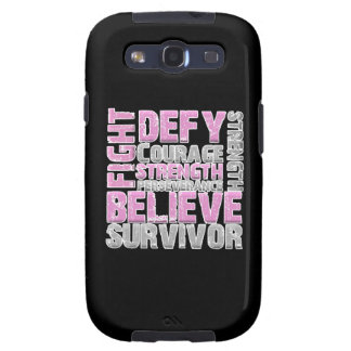 Fight Defy Courage Perseverance Breast Cancer Samsung Galaxy S3 Cases