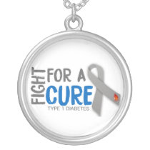 Fight For a Cure For Type 1 Diabetes Silver Plated Necklace