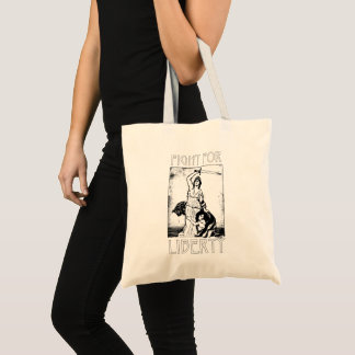 FIght for Liberty! Lady Liberty with Sword - Black Tote Bag