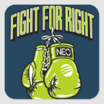 fight for right, boxing gloves square sticker