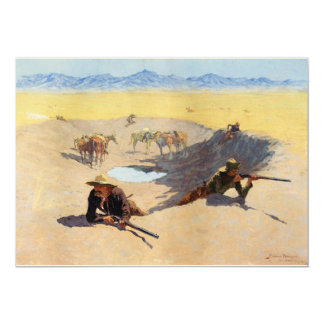 Fight for the Water Hole by Frederic Remington 5x7 Paper Invitation Card