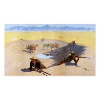 Fight for the Water Hole by Frederic Remington Business Card Template