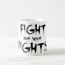 fight for your rights, bob marley, anti-authority, reggae, typographic, ragga, song, roots, the wailers, rock'n'roll, peace, politic, Caneca com design gráfico personalizado