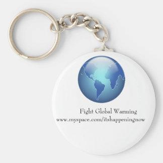 Fight Global Warming Basic Round Button Keychain