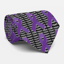 Fight Hodgkins Lymphoma Cancer Violet Ribbon Neck Tie