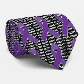 Fight Hodgkins Lymphoma Cancer Violet Ribbon Neck Tie