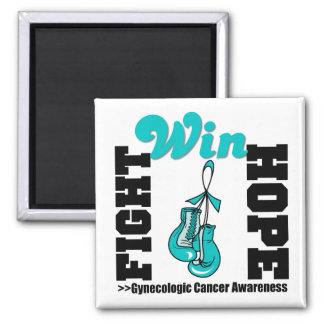 Fight Hope Win - Gynecologic Cancer 2 Inch Square Magnet