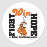 Fight Hope Win v2 - Kidney Cancer Round Sticker