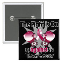 Fight is On Against Throat Cancer Pinback Button