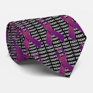 Fight Leiomyosarcoma Cancer Purple Ribbon Neck Tie