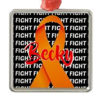 Fight Leukemia Orange Ribbon Metal Ornament