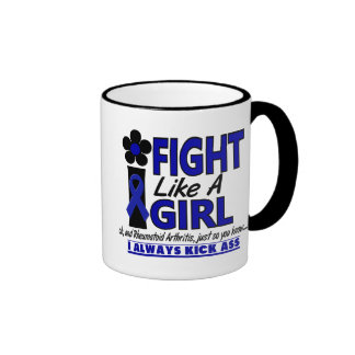 Fight Like A Girl 1.2 Rheumatoid Arthritis Ringer Coffee Mug