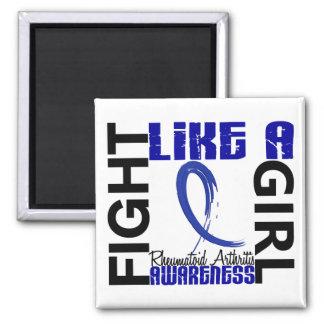 Fight Like A Girl 3.3 Rheumatoid Arthritis 2 Inch Square Magnet