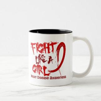 Fight Like A Girl 5.3 Heart Disease Two-Tone Coffee Mug