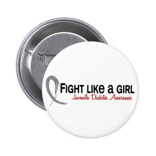 Fight Like A Girl 6.3 Juvenile Diabetes 2 Inch Round Button