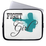 Fight Like A Girl - Black & Teal Laptop Computer Sleeves