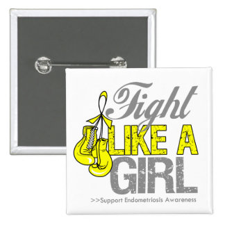 Fight Like a Girl Boxing - Endometriosis Pinback Buttons