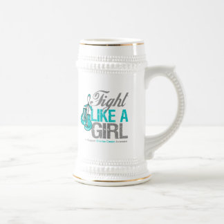 Fight Like a Girl Boxing - Ovarian Cancer 18 Oz Beer Stein