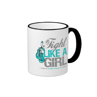 Fight Like a Girl Boxing - Ovarian Cancer Ringer Coffee Mug