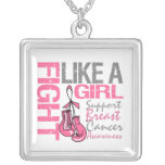 Fight Like A Girl Boxing Ribbon Breast Cancer Necklaces