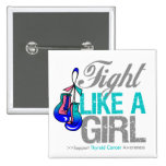Fight Like a Girl Boxing - Thyroid Cancer Pinback Button
