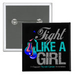Fight Like a Girl Boxing - Thyroid Cancer Button