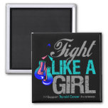 Fight Like a Girl Boxing - Thyroid Cancer Fridge Magnets